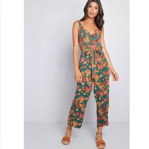 NWT Modcloth Cropped Floral Jumpsuit